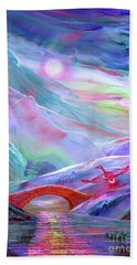 Hand Towel featuring the painting   Midnight Silence, Flying Goose by Jane Small