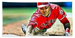 Mike Trout Painting Bath Towel