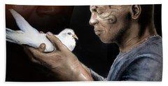 Mike Tyson And Pigeon II Hand Towel