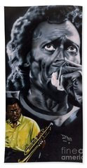 Bath Towel featuring the painting More Miles Of Davis by Thomas J Herring