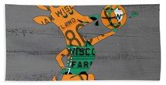 Milwaukee Bucks Basketball Team Logo Vintage Recycled Wisconsin License Plate Art Hand Towel