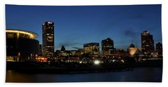Bath Towel featuring the photograph Milwaukee City Scape Panorama by Deborah Klubertanz