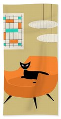 Mini Abstract With Orange Chair Hand Towel