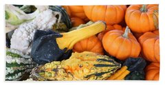 Hand Towel featuring the photograph Mini Pumpkins And Gourds by Cynthia Guinn