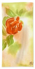 Hand Towel featuring the painting Miniature Red Rose II by Kip DeVore