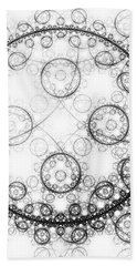 Minimalist Fractal Art Black And White Circles Bath Towel