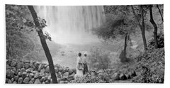 Bath Towel featuring the photograph Minnehaha Falls Minneapolis Minnesota 1915 Vintage Photograph by A Gurmankin