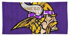 Minnesota Vikings Football Team Retro Logo Minnesota License Plate Art Hand Towel