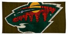 Minnesota Wild Retro Hockey Team Logo Recycled Land Of 10000 Lakes License Plate Art Hand Towel by Design Turnpike