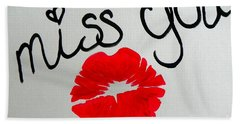 Hand Towel featuring the painting Miss You  by Marisela Mungia