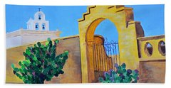 Hand Towel featuring the painting Mission San Xavier by Rodney Campbell