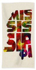 Mississippi Typographic Watercolor Map Bath Towel