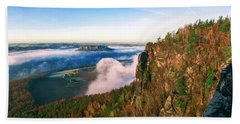 Mist Flow Around The Fortress Koenigstein Bath Towel