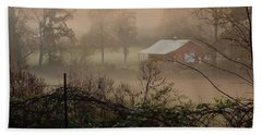 Misty Morn And Horse Bath Towel by Kathy Barney