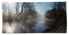 Misty Morning Along James River Bath Towel