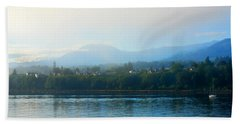 Misty Morning In Port Angeles Bath Towel by Connie Fox