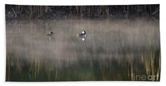 Misty Morning Mergansers Bath Towel