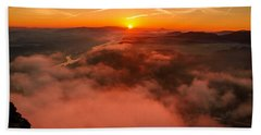 Misty Sunrise On The Lilienstein Bath Towel