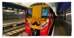 Mo Train  Hand Towel by Rob Hawkins