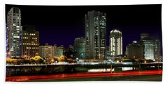 Modern Sao Paulo Skyline Near Brooklin District And Stayed Bridge Hand Towel