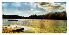 Mohegan Lake Gold Hand Towel by Derek Gedney