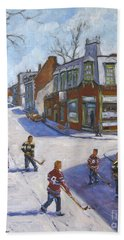 Molasses Town Hockey Rivals In The Streets Of Montreal By Pranke Bath Towel