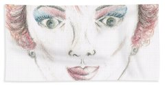 Bath Towel featuring the drawing Mollys Makeover/ Pink Day by Teresa White
