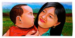 Hand Towel featuring the painting Mom And Babe by Cyril Maza