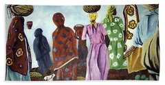 Bath Towel featuring the painting Mombasa Market by Sher Nasser