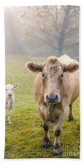Momma And Baby Cow Hand Towel