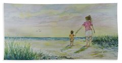 Mommy And Me At The Beach Hand Towel