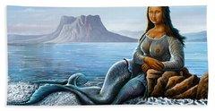 Monalisa Mermaid Hand Towel by Anthony Mwangi