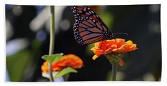 Monarch Butterfly And Orange Zinnias Hand Towel