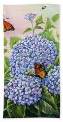 Monarchs And Hydrangeas Bath Towel by Gail Butler