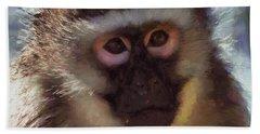 Monkey Portait Painting Bath Towel