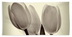 Monochrome Tulips With Vignette Hand Towel