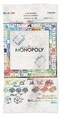 Monopoly Game Board Vintage Patent Art - Sharon Cummings Hand Towel