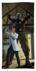 Bath Towel featuring the painting Monster In Victorian Science Laboratory by Martin Davey