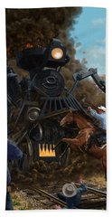 Hand Towel featuring the digital art Monster Train Attacking Cowboys by Martin Davey