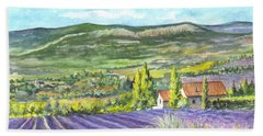 Bath Towel featuring the painting Montagne De Lure In Provence France by Carol Wisniewski