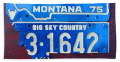 Montana License Plate Map Hand Towel