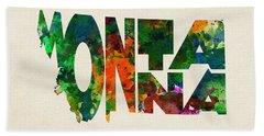 Montana Typographic Watercolor Map Bath Towel