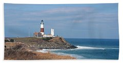 Bath Towel featuring the photograph Montauk Lighthouse/camp Hero by Karen Silvestri