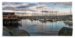 Hand Towel featuring the photograph Monterey Marina California by Kathy Churchman