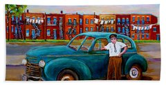Montreal Taxi Driver 1940 Cab Vintage Car Montreal Memories Row Houses City Scenes Carole Spandau Hand Towel