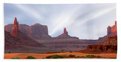 Monument Valley At Sunset Panoramic Hand Towel