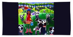 Bath Towel featuring the painting Moo Cow Farm by Jackie Carpenter
