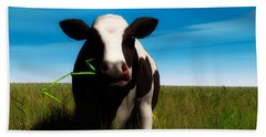 Hand Towel featuring the digital art Moo... by Tim Fillingim