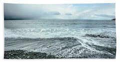Moody Waves French Beach Hand Towel by Roxy Hurtubise