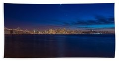 Moon Over San Francisco Bay Hand Towel by James Hammond